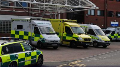 Ambulances outside Epsom Hospital