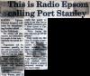 This is Radio Epsom calling Port Stanley
